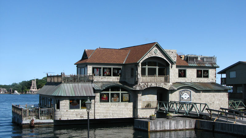 Photo of the exterior of Capt's Landing, a restaurant in Alexandria Bay, NY.